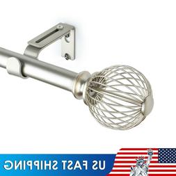 1 Inch Curtain Rods Single Window Rod, Refined Cage Finials,
