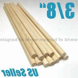 """3/8"""" Wood Dowel Rods Unfinished Smooth Wooden Stick Arts Cra"""