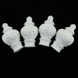 4 Pack Curtain Pole Ends Decorative Curtain Rod Ends Drapery