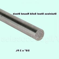 """5/8"""" x 3 Ft Stainless Steel Solid Round Rod Corrosion Resist"""