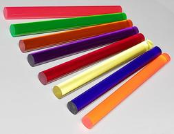 """8 DIFFERENT 1"""" INCH DIAMETER CLEAR ACRYLIC RODS BLUE RED P"""