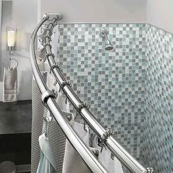 Double Curved Shower Curtain Rod Adjustable Crescent Fixture