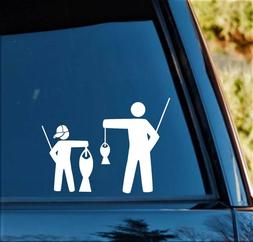 Father and Son in Baseball Cap Funny Fishing Decal Sticker F