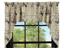 French Postcard Swag Set Window Curtains Pair - 72x36 total