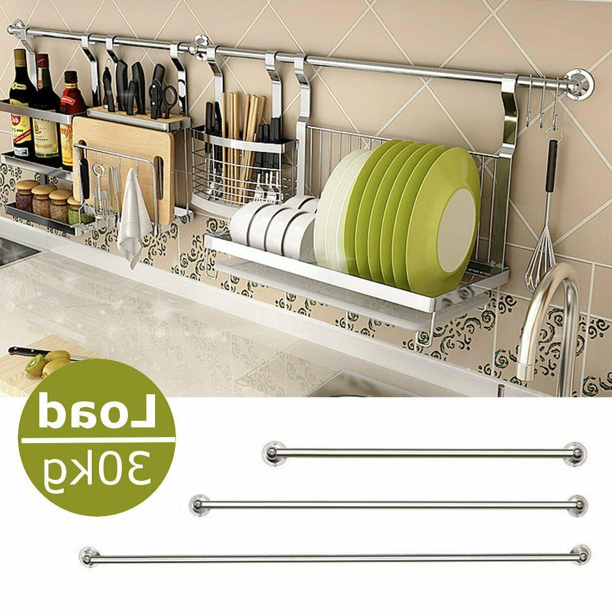 stainless steel hanging rod home kitchen wall