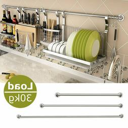 Stainless Steel Hanging Rod Home Kitchen Wall Mounting Stora